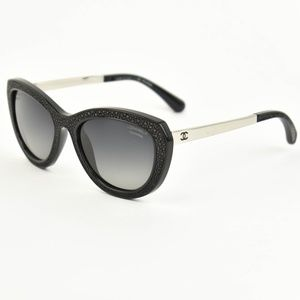 CHANEL Black & Silver, CC Polarized Sunglasses hg